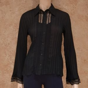 Maje Black Sleeved Tee Shirt Top Woman